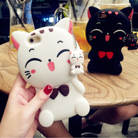 Wholesale 3d note case cartoon online - 3D Cartoon Lucky Fortune Smile Cat Phone Case For Iphone X XR XS MAX Silicone Back Cover For Iphone Plus