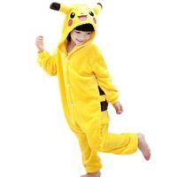 Wholesale cosplay stitch online - 2017 winter New Flannel pyjama baby girl pyjama set Pikachu Stitch cosplay Hooded christmas pijama infantil kids boys sleepwear