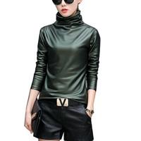 samt rollkragenhemd großhandel-Großhandels-Harajuku-Frauen-T-Shirt reizvolle lange Hülsen-Turtleneck-Samtt-shirt weibliche Oberseiten plus Größe 4XL Punkartstrecken-PU-Ledert-shirt