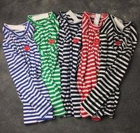 marka uzun kollu gömlek erkek çizgili toptan satış-2018 Bahar ve Yaz Yeni Gelgit Marka Yuvarlak Boyun Şerit Uzun Kollu T-Shirt Erkekler ve Kadınlar için Çiftler Pamuk T-Shirt Ücretsiz nakliye
