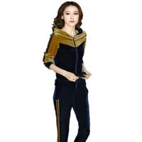 kadife hoodies toptan satış-Sonbahar Womens Altın Kadife Eğlence Takım Elbise Giyim Seti Rahat Patchwork Kadife Hoodies + Pantolon Kızlar Için Spor Eşofman 5xl