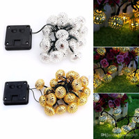 Wholesale xmas lights wholesale for sale for sale - 20 LED Solar power Metal Hollow Ball String Fairy Lights For Christmas Xmas Wedding Decoration Party Supply Sale warm white silver golden