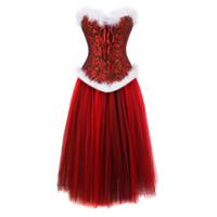 викторианские юбки оптовых-Рождество женщины корсеты для платья костюмы Хэллоуин черный красный сетка длинная юбка бюстье корсет цветочные викторианский плюс размер