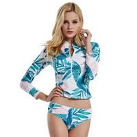 Wholesale womens swimwear sets online - 1 Set Sexy Two Piece Bodysuit Women Long Sleeve Swimsuit Womens Jumpsuit Summer Beach Playsuit Hot Selling Swimwear Bathing Suit