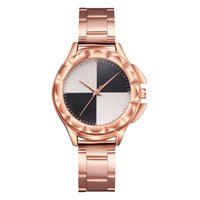 white resin mirror Canada - European and American trend black and white interval mirror quartz watch fashion rose gold alloy ladies watch
