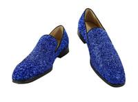 ingrosso scarpe di glitter blu per il matrimonio-2018 nuovissimi uomini scarpe blu paillettes Oxfords bling bling Business Wedding piatto a mano uomo vestito scarpe glitter mocassini