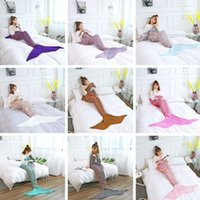 Wholesale costumes europe online - Newest Adult Mermaid Tail Quilt Blanket Knitted Crochet Wrap Costumes For Sofa Blankets Mermaid Blanket CM I311