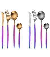 Wholesale stainless steel flatware cutlery - 1 Pcs 304 Stainless Steel Flatware Dinnerware Cutlery Rainbow Handle Golden Silver Fork Spoon Teaspoon Knife DDA677