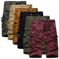 ingrosso pantaloni gialli per gli uomini-EL BARCO Pantaloncini casual da uomo in cotone Camouflage giallo Pantaloncini cargo rossi di colore nero Pantalone da uomo al kaki verde militare