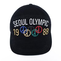 Wholesale Hat War - 17AW 1988 SEOUL OLYMPIC Embroidery GD Peaceminusone Peaked Cap Men Women Hats Seoul Olympics 1988 Anti War Pmo Limit Baseball Hat HFWPMZ002