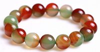 grüne achat runde perle groihandel-10mm natürliches Multicolor Rot Grün-Achat-runde Korn-Stretchy Armband-Armband