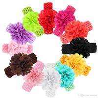 Wholesale toddler headbands big flowers - Newborn Baby Girls Headband Big Peony Flower Infant Toddler 4.5cm Wide bow headband hair band children hair accessories Headwear KHA49