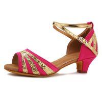 zapatos de salón tacón bajo al por mayor-Zapatos de baile para mujer Niños Zapatos de baile latino Zapatos de tacón bajo Tango caliente Salón de baile Mujeres latinas