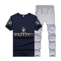 eşofman yaz erkek toptan satış-Yaz Erkek Spor Eşofman MRSREATI Baskılı İnce Koşucular Pantolon Casual Suit ile Kısa Kollu T-shirt Soğuk