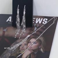 nedime altın gümüş küpeler toptan satış-925 Ayar Gümüş Püskül Küpe Kadınlar Dangle Link Zinciri Küpe ve Kolye Vintage Nedime Dorp Küpe Takı Seti hediye