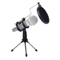 mikrofon filtreleri toptan satış-Evrensel Katlanabilir Ayarlanabilir Mikrofon Standı Masaüstü Tripod Bilgisayar Video Kayıt Mic Cam Pop Filtre Kapağı Ile