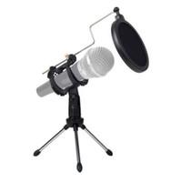 computadora ajustable al por mayor-Trípode universal plegable plegable del escritorio del micrófono para la grabación video del ordenador con la cubierta del filtro del estallido del filtro del micrófono