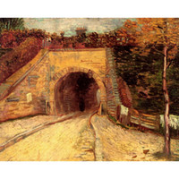 Wholesale famous impressionist paintings resale online - Famous painting by Vincent Van Gogh Roadway with Underpass The Viaduct artwork impressionist art Handmade Gift