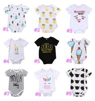 Wholesale romper white baby cotton unisex - Newborn Baby Boys Girls Cotton Onesies Romper Striped Llama Kiss Letter Print Jumpsuit Bodysuit Playsuit Clothes Baby Clothes Kids Clothing