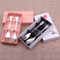 Wholesale wholesale box sets china online - 2Pcs Wedding Gift Tableware Soon Fork Set Wedding Cutlery Sets Tableware China with Color Box Packing