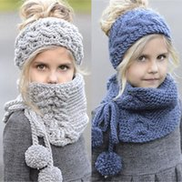 Wholesale knitting cowl scarf for sale - Group buy Kids Winter Knitted Wool Beanie Caps Scarf Sets Girls kids Warm Scarf Shawls Hooded Cowl Beanie Caps set