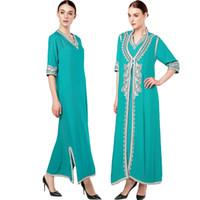 tunique de broderie achat en gros de-Femmes vêtements islamiques Maxi Manches longues Robe marocaine Caftan Caftan Abaya tunique Robe musulmane turc ethniques broderie robe