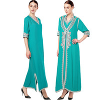 mujeres islámicas kaftan al por mayor-Ropa islámica Maxi vestido de manga larga marroquí Kaftan Caftan abaya túnica vestido musulmán turco bordado étnico vestido