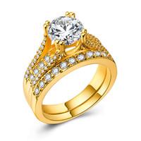 conjuntos de casamento venda por atacado-Homens de luxo Mulheres Amante Casal Anel de Noivado 925 Prata / 18k Gold Filled Wedding Ring Set Para Amante Diamonique Cz Presente Da Jóia Tamanho 6-10