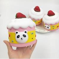 gros panda doux jouet achat en gros de-Squishy Panda Cupcake Ours Big Jumbo Simulation Jouet Lent Rising Soft Squeeze Mignon Téléphone Pendentif Décompression Jouets CCA8904 50pcs