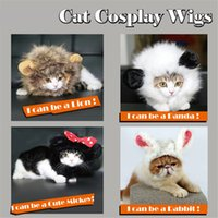 Wholesale Wig Black White Cosplay - New Funny pet costume cosplay Cute Pet Hat Costume Lion Mane Cat Wig Halloween Dress Up With Ears Pet hat lion mane wig