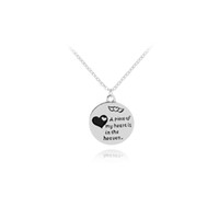 Wholesale one piece pendant - A Piece Of My Heart Is In Heaven Remembrance Angel Wing Necklace Hand Stamped Memorial Jewelry Loss Of Loved One Gift Mom Dad