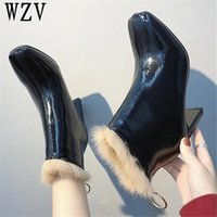 Wholesale bright boots resale online - Fashion women high heels Boots Hot Square toe Ankle boots women Bright leather Winter Zipper Warm Shoes F410
