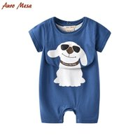 Wholesale pet sleeves - High quality Dog style baby pet pen collar blue romper summer short sleeve 100% cotton baby romper + bib girl romper baby clothing