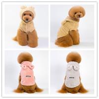 ayı köpeği kostümleri toptan satış-5 Boyutu köpek kostüm sevimli ayı kulak pet giysi çift yüzlü kazık teddy fino köpeği sonbahar kış sıcak köpek giyim 3 renk