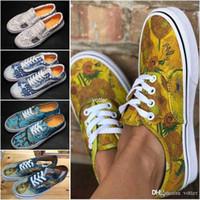 zapatos de lona casuales para mujer al por mayor-2018 Nuevo Slip-On Museo Gogh x Girasol Old Skool Para Mujer Para Mujer Zapatos Casuales Flores Monopatín de Lona Deporte Zapatillas Tamaño 36-44