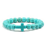 bracelets élastiques achat en gros de-8 MM Perles De Prière Pierre Naturelle Vert Bleu Turquoises Bracelets pour Femmes Jésus Croix Charmes Élasticité Yoga Bracelet Hommes Bijoux