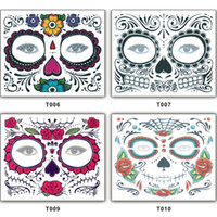 Wholesale tattoo sticker waterproof resale online - Christmas party Facial day of the dead faced tattoo Halloween and masquerade ball must pretty tattoo sticker waterproof faced tattoo