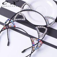 coelho lenço preto venda por atacado-Meninas Rhinestone Cat Ear Hairband Faixa de Cabelo Preto Orelha de Coelho Headband Do Lenço Recém-Nascido Acessórios Para o Cabelo Para A Festa de Fotografia