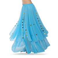 hint dans kıyafeti toptan satış-Ücretsiz Kargo Dancewear Profesyonel Oryantal Dans Elbise Flamenko Hint Çingene Pullu Şifon Etekler Oryantal Uygulama Belly Dance Etek.