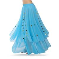 ingrosso i vestiti indiani liberano il trasporto-Dancewear professionale di danza del ventre vestiti liberi di flamenco Gonne di chiffon di paillettes indiano paillettes di danza orientale Gonna orientale di danza del ventre di pratica.