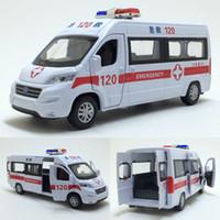 araba ambulansı toptan satış-Yüksek kalite yüksek simülasyon 1:32 alaşım geri çekin araba, Ford ambulans 4 açık kapı metal model arabalar oyuncak, ücretsiz kargo