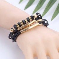 europa-perlen-art und weisearmband großhandel-Armband-Großverkauf-2018 neuer Art- und Weiseschmucksache-Leder-Armband für Frauen-Armband-Europa-Korn-Charme-Goldarmband-Weihnachtsgeschenk