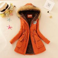Wholesale womens green parka warm online - Winter Warm Coat Women Long Parkas Fashion Faux Fur Hooded Womens Overcoat Casual Cotton Padded Jacket Mutil Colors