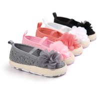 Wholesale baby white mary jane shoes online - New Spring Summer Infant Toddler Baby Girl Princess Mary Jane Big Flower Ballet Dress Prewalkers Shoes Crib Babe Soft Soled Shoe