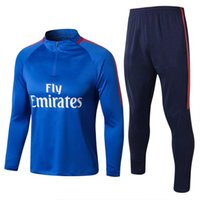 Wholesale fan sweaters - 2018 French football fans tracksuits Edison Cavani and Kylian Mbappé men's blue long-sleeved football training sweater suit