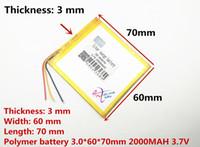 pilhas de bateria lipo venda por atacado-3 fios 3.7 V 2000 mAh Polímero de Lítio LiPo bateria Recharregável células de energia Para PAD GPS Vedio Jogo E-Book Tablet PC Power Bank 306070