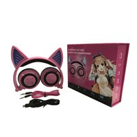 Wholesale cat ears headphone - Fordable Cosplay Cat Ear Bluetooth Headphones Wireless Stereo Headsets earbuds with Mic for Phone Universal 3.5mm AUX