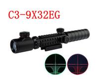 optik nişangah skopları toptan satış-Avcılık Riflescopes C3-9X32EG Kırmızı / Yeşil Nokta ışıklı Airsoft Sights Kapsam Avcılık Taktik Optik Hava Tabancası Tüfek Sight Kapsamları