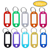numéros d'étiquettes en plastique achat en gros de-100pcs / lot Tough Plastic Keychain Tags clés ID Label Name Tags avec anneau fendu pour bagage Numéro de chambre porte-clés empêcher Empêcher Perdu Tags