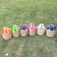 Wholesale bucket ears - DIY Easter Bunny Bucket Bag Jute Ear Storage Tote Hand Bags Burlap Children Gifts Cotton Handbags Rabbit Funny Design Free DHL